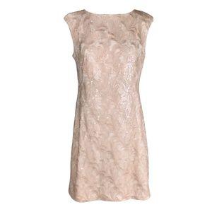 Ralph Lauren Sheath Dress Blush Sequin Lace Formal